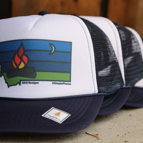 Navy SimplePlaces CampFire Trucker Hat